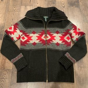 Ralph Lauren Black and Red Wool Sweater